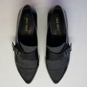 Nine West Loafers, Buckle Strap, Black/Dark Grey